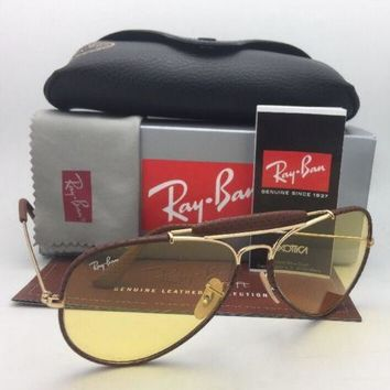 Photochromic RAY-BAN Sunglasses RB 3422-Q 9042/4A Gold & Brown Leather Aviator