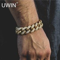 UWIN Mens Iced Out 13.5MM Thick Heavy Gold CZ Curb Cuban Link Bracelet Copper Material Lab Rhinestone Clasp Chain Bracelet 8""