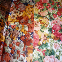 Drapery Weight Fabric /  Floral Fabric / Fabric Remnant
