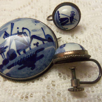 Delft Holland Brooch, Screwback Earrings, Hand Painted Porcelain, 925 Silver, 1960s Vintage Dutch Windmill Collectible Jewelry