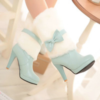 Boho-Chic Faux Fur and Leather Bow Boots
