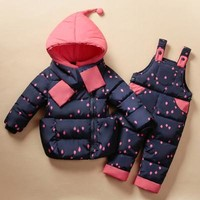 2016 Winter Children's Clothing Set Kids Ski Suit Overalls Baby Girls Down Coat Warm Snowsuits Jackets+bib Pants 2pcs set 0-5T