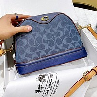 COACH Fashionable Women Shopping Bag Leather Blue Shoulder Bag Crossbody Satchel