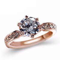 Cubic Zirconia AAA 1.75ct Rose Gold Engagement Rings Rings for Women Promise Rings