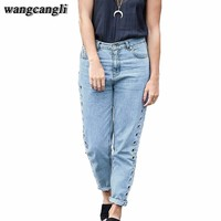Jeans boyfriends with high waist jeans loose Hollow Out pants Rivet straight jeans elastic jeans for women 3XL cool denim jeans