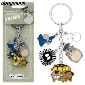P1668 Dongmanli New Arrival Cute Japanese Anime Gray My Neighbor Totoro Keychain Metal Figures Pendants Key Chains Toy