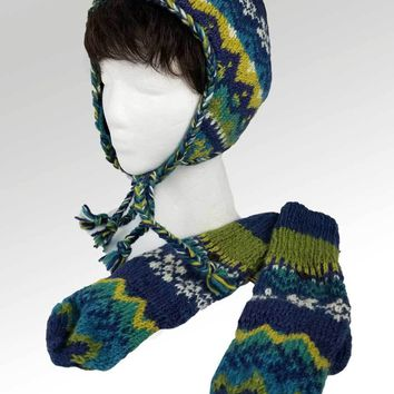 Nordic Wool Hat and Mittens Set - Blue