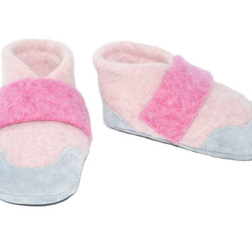 Girl Mary Jane Slippers, Children Soft Wool Shoes