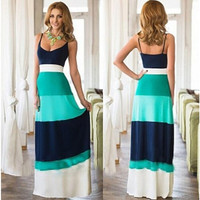 New Women 1 Piece A-line Summer Dress Patchwork V-neck Sleeveless Long Dress = 1782334724