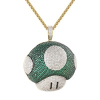 "Character Game Green Mushroom 14k Gold Finish Pendant Necklace Free 24"" BoxChain"