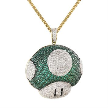 """Character Game Green Mushroom 14k Gold Finish Pendant Necklace Free 24"""" BoxChain"""