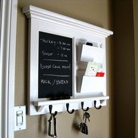 Heirloom Quality Wood Framed Double Mail Slot Organizer with Chalkboard, Bulletin Board or Dry Erase  and Keyhook in Black or White