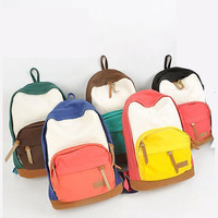 New Women Lady Sweet Colors Canvas School Campus Book Backpack Shoulder Bag