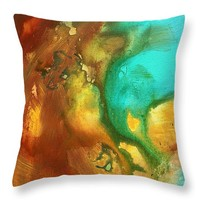 "Abstract Art Colorful Turquoise Rust RIVER OF RUST I by MADART Throw Pillow 14"" x 14"""