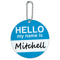 Mitchell Hello My Name Is Round ID Card Luggage Tag