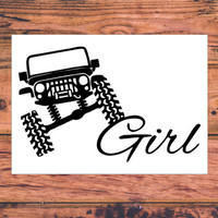 Jeep Girl Decal | Cute Jeep Decal | Preppy Jeep Decal | Jeep Car Sticker | Lifted Jeep Decal | Sassy Jeep Decal | 285