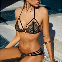 Fashion Hollow Lace Strap Lingerie Set Bikini