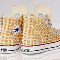 Holiday Promotion, Studded White Converse GOLD Studs with converse Cream high top by CUSTOMDUO on ETSY