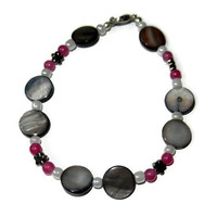 Magenta and Grey Beaded Bracelet with Flower Beads