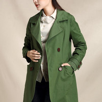 Trench coat for women, autumn trench, cotton coat, green coat, casual outwear (ESR118)