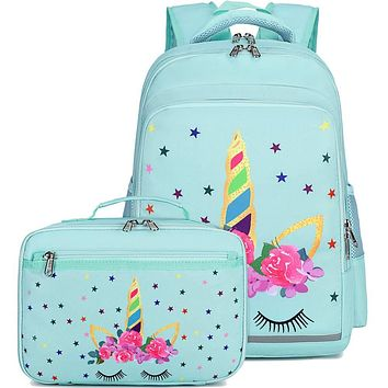 CAMTOP Backpack for Kids Girls School Backpack with Lunch Box Preschool Kindergarten BookBag Set Mint Green-unicorn