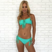Fringe To The End Bikini Set In Mint