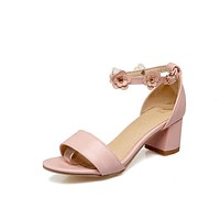Women's Flower Ankle Straps Chunky Heel Sandals Dress Shoes for Summer 1435