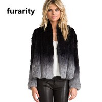 SF0305 New Arrived Top Quality Gradient Color Real Fur Jackets Dip dyed degrade color Women Knitted Rabbit fur Coats