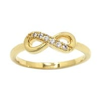 Gold-Tone Cubic Zirconia Infinity Symbol Ring