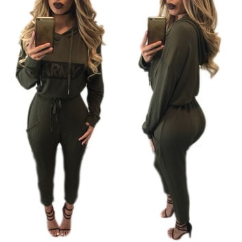 Graphic Print Hooded Jumpsuit in Army Green