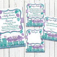 Purple teal Elephant baby shower printable owl invitation set girl digital invite with inserts thank you bring book Diaper Raffle card