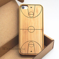 iPhone 5C case, iPhone 5S 5 case, iPhone 4/4s Wood cover, basketball court print wood case, Bamboo, Cherry wood, FREE screen protector - W56