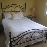 Queen Bed Frame with Sealy Mattress and Box Spring