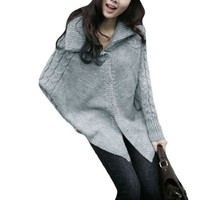 Ladies Single Breasted Long Sleeve Autumn Casual Sweater Poncho Gray XS
