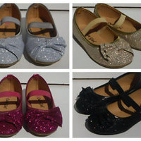 New Toddler Girl Glitter Flat Shoes. Black, Gold, Silver, Hot Pink.