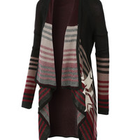 LE3NO Womens Aztec Print Open Front Draped Knit Cardigan (CLEARANCE)