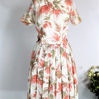 Vintage 1960s Floral Print Dress With Lucite Buttons