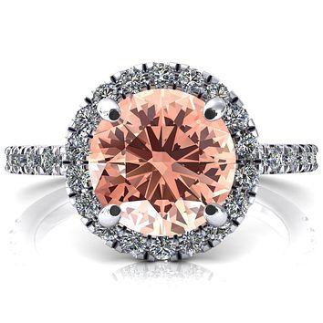 Talia Round Champagne Sapphire 4 Prong Halo 5/8 Micropave Engagement Ring