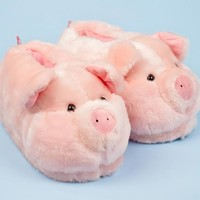 Pink Pig Animal Slippers