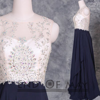 O Neck Two Shoulder Long Prom Dresses,Prom Dresses,prom dress,prom dress long,long prom dress,chiffon prom dresses,beading prom dresses