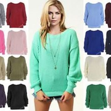 LADIES OVERSIZED BAGGY JUMPER KNITTED WOMENS SWEATER CHUNKY KNIT TOP JUMPERS