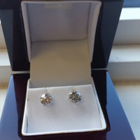 1.19 Carat H SI3 Diamond Earrings 14k White Gold Setting Jewelry Fine Make Anniversary Fashion Collection Quality Rare Fine Quality Must See