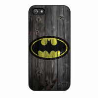 Batman Logo On Wood iPhone 5 Case