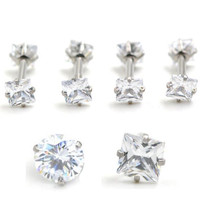 2 Piece 16G 1.2x6x4mm Internally Threaded Clear Round Cubic Zirconia Prong Square Helix Tragus Ear Piercing Body Jewelry