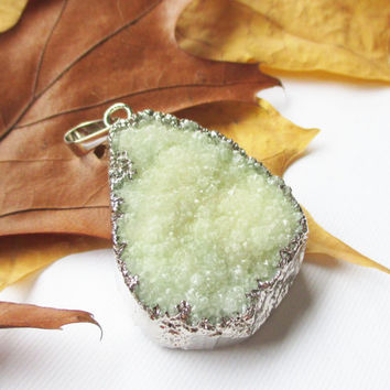 Green Drusy Dipped  in Silver Pendant,  Druzy Drussy  Gemstone Pendant With Loop, Select With/ Without Chain