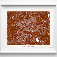 Blackburn Map, Blackburn Print, England Poster, United Kingdom, Wedding Gift, Decor Idea, Home Town, Giclee Print, Halloween Decor