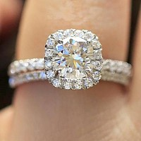New fashion more diamond ring women accessory Silver