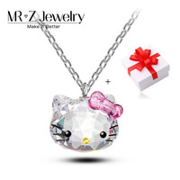 Valentine Gifts Cute Cat Austrian Crystal Necklace