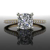 Forever Brilliant Moissanite Engagement Ring Cushion Cut 1.23 CTW