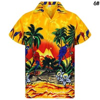 Summer Hot Sale Men Casual Loose Short Sleeve Coconut Tree Print Holiday Beach Shirt Top